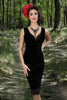 Raven Velvet Cowl Wiggle Dress (Black)