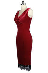 Raven Velvet Cowl Wiggle Dress (Red)