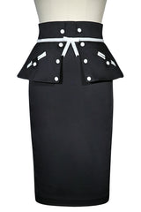 Roman Holiday Peplum Skirt (Black)