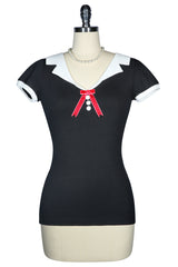 Roman Holiday Contrast Collar Top (Black)