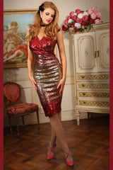 Sequin Vamp Dress (Champagne & Red)