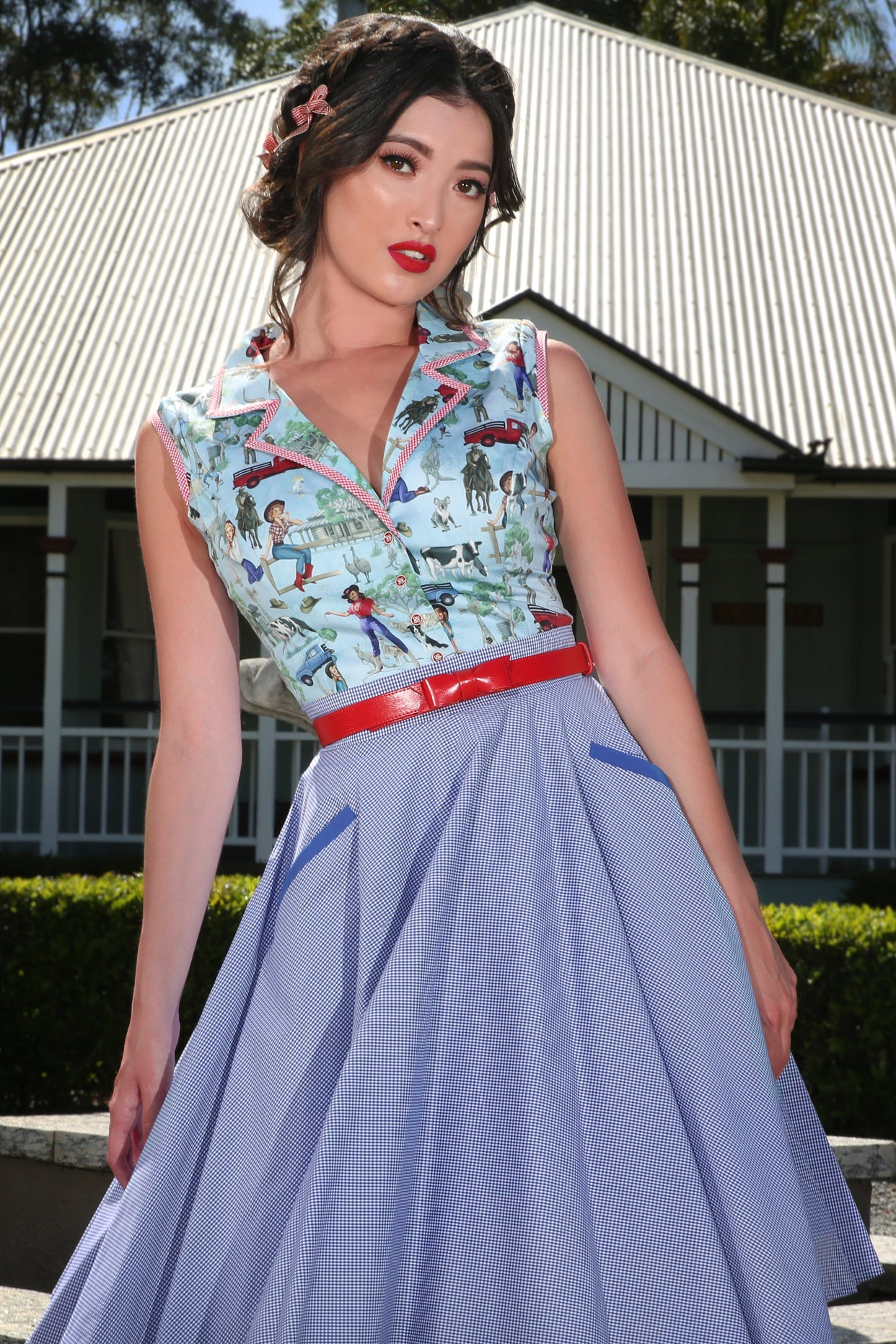The Lucky Country Gingham Circle Skirt (Blue)