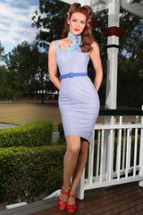 The Lucky Country Scarf Wiggle Dress (Blue)