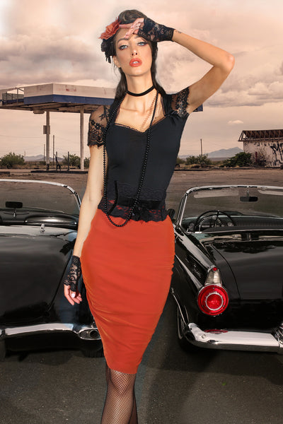 The Wild One Velvet Wiggle Skirt (Orange)