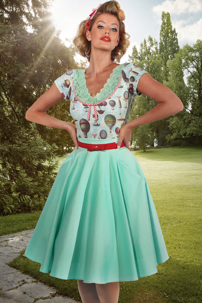 Up Up and Away Circle Skirt (Mint)