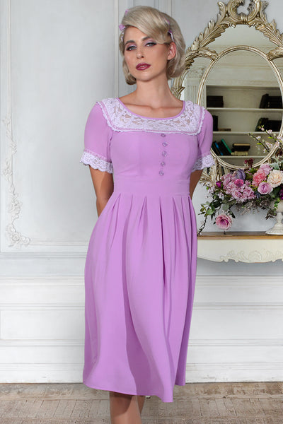 Vintage Violet Crepe and Lace Dress