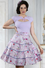 Vintage Violet Tiered Full Skirt