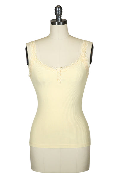 Follies Lace Trim Singlet (Lemon)