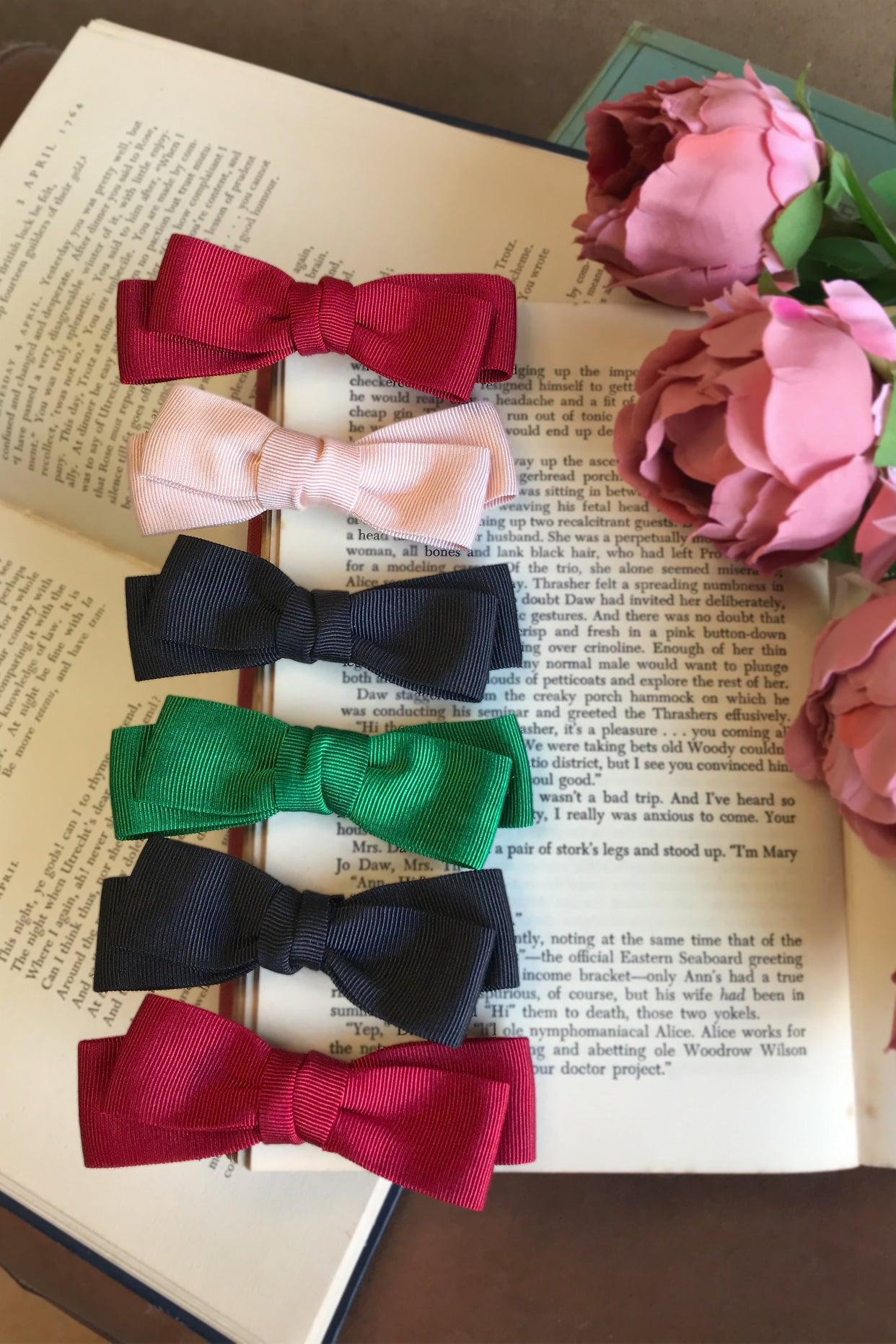 D'Amour Grosgrain Hair Bows 6 Pieces