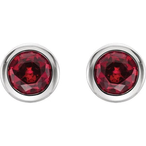 Gemstone Round Bezel Set Stud Earrings