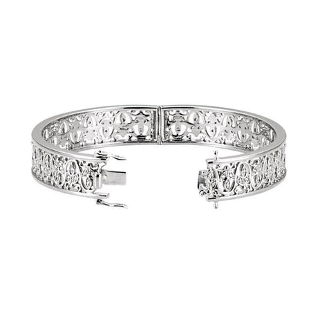 0.5 CTW Diamond Bangle Bracelet 14K White Gold - Giliarto