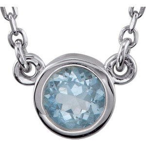 Aquamarine with sterling silver necklace - Giliarto