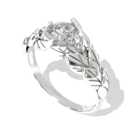 0.7 Carat Diamond Engagement 14K White Gold Leaf Ring