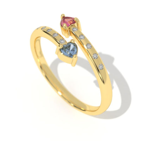 0.3 Carat Giliarto Sapphire Ruby Gold Promissory Ring