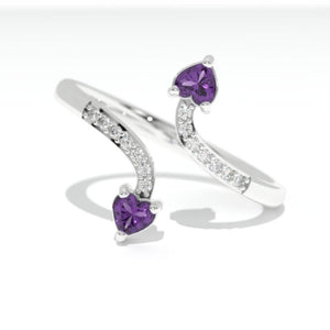 0.3 Carat Giliarto Heart Amethyst  Gold Promissory Ring