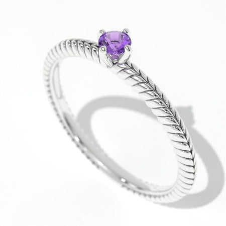 0.15 Carat Giliarto Amethyst  Gold Promissory Ring