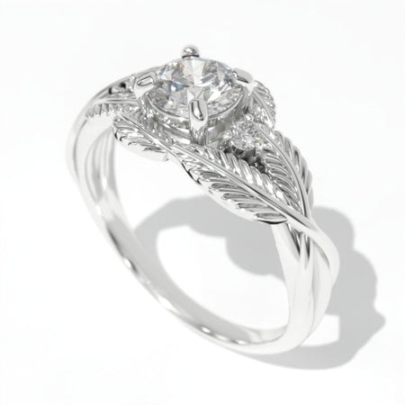 0.7 Carat GIA Diamond White Gold Engagement Floral Ring
