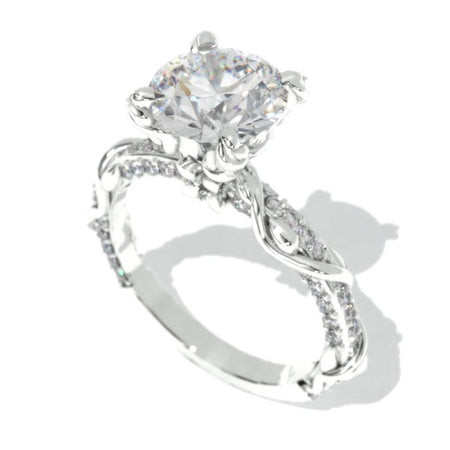 2.0 Carat Moissanite Giliarto Engagement Ring-58 round accents  0.4 TCW 14K White Gold
