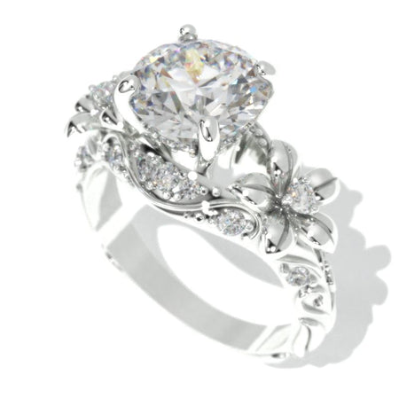 2.0 Carat Moissanite Gold Floral Engagement Ring