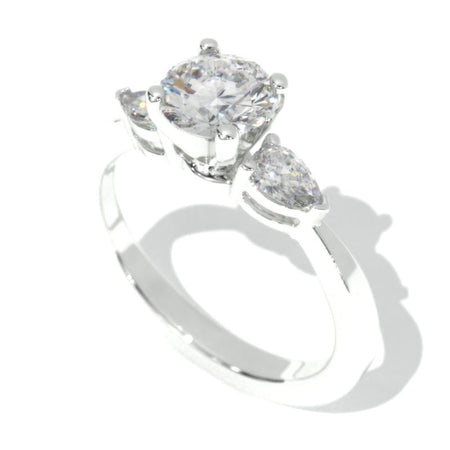 1.0 Carat Moissanite Three Stone 14K White  Gold Promissory Ring