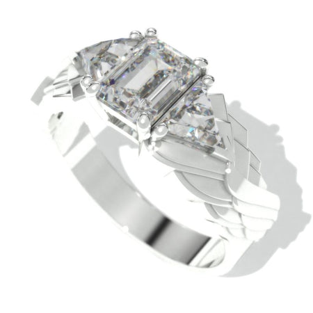 3.8 Carat Giliarto Moissanite Men's Wing Gold Ring.