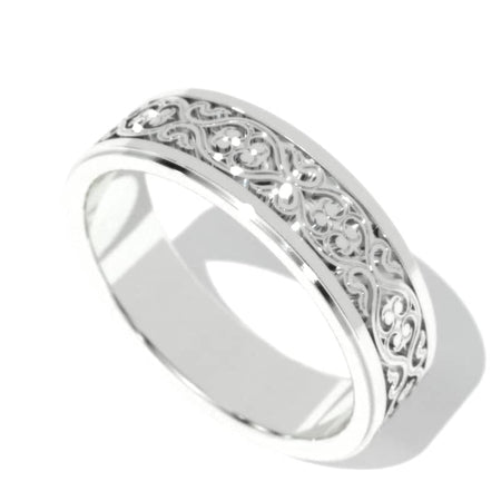 14K White Gold Celtic Engagement Ring