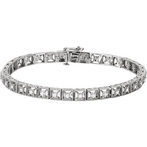 "0.5 CTW Diamond Fashion Tennis 7"" Bracelet 14K White Gold - Giliarto"