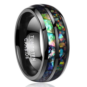 Wood Opal Tungsten Carbide Ring - Giliarto