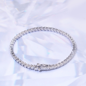"5.5 CTW Moissanite Tennis Line 7"" White Gold Bracelet"