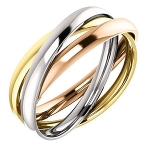 14K White, Yellow, & Rose 3-Band Rolling Ring - Giliarto