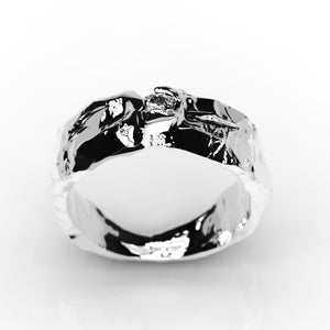 Diamond Men's  14K White Gold  Ring. - Giliarto