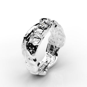 Moon Diamond Men's  14K White Gold  Ring. - Giliarto