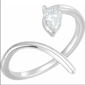 14K White 1/3 CTW Diamond Negative Space Ring