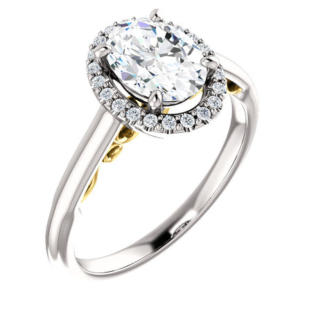1.25 Carat Oval Forever One Moissanite Diamond Halo Engagement Ring