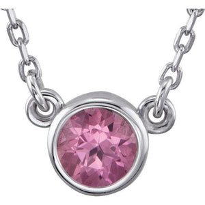 Genuine Pink Tourmaline Bezel With  Necklace - Giliarto