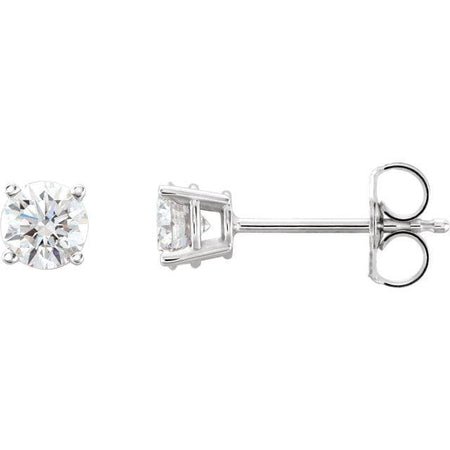 0.75 CTW  solitaire earrings  I 14K White-Pair Faceted GHI BOM Lab-Diamond