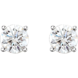0.75 CTW  Diamond Stud Earrings I 14K White-Pair Faceted GHI BOM Lab-Diamond