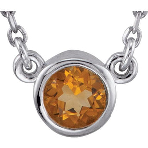 Citrine pendant with silver necklace - Giliarto