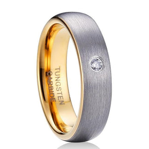 Silver and Gold Color Tungsten Carbide CZ Ring - Giliarto