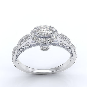Oval Forever One Moissanite Halo Engagement Ring