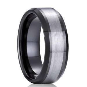 Black and Silver Tungsten Carbide Ring - Giliarto