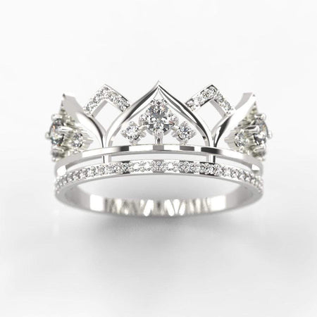 ''Your Majesty'' Diamond  Tiara Gold Ring I Princess crown ring