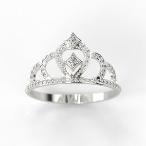Diamond Royal Tiara Crown 14K White Gold Ring - Giliarto