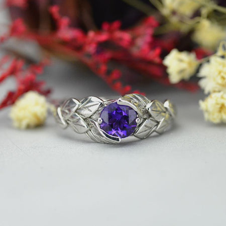1.0 Carat Amethyst Leaf Engagement Ring 14K  White Gold 6mm Round