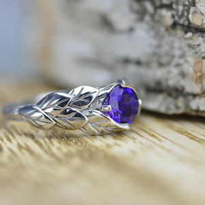 14K White Gold amethyst leaf engagement ring