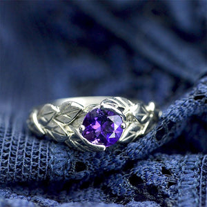 1.0 Carat Amethyst Leaf Engagement Ring-6mm Round