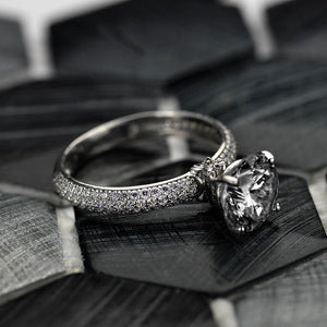 ''Carmen'' 2 Carat Gray Grey Moissanite 14K Gold  Engagement Ring