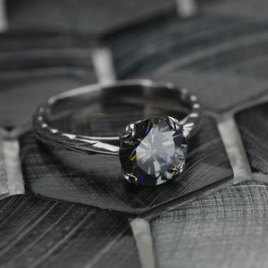 2.0 Carat Gray Moissanite  Engagement Ring