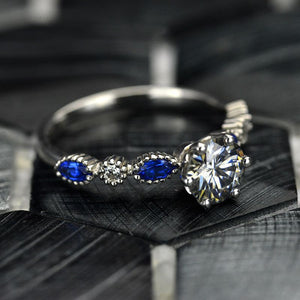 1.0 Carat Gray Moissanite and  Sapphire White Gold Ring I 14K White  Gold- 6 Accent