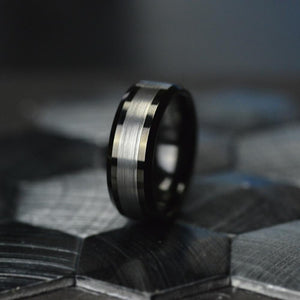 Black and Silver Tungsten Carbide Ring